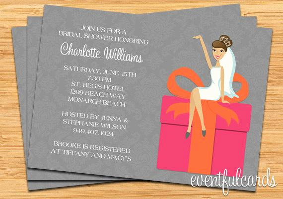 Gift Card Shower Invitation Luxury Pink and orange Bridal Shower Invitation by eventfulcards