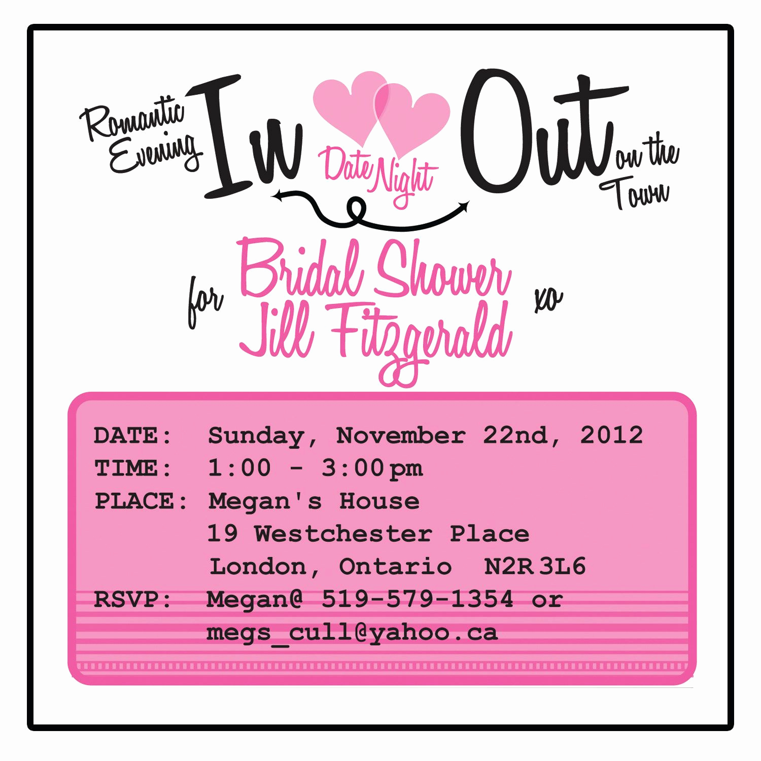 Gift Card Shower Invitation Unique Bridal Shower Invitation Date Night theme 25 $50 00