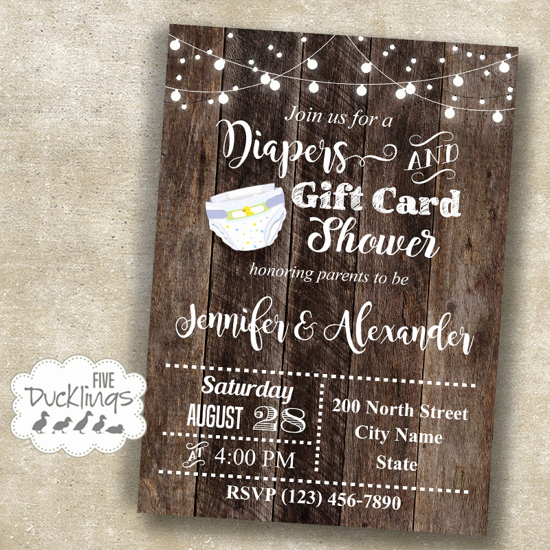 Gift Card Shower Invitation Unique Diaper and Gift Card Shower Invitation Baby Shower Invite