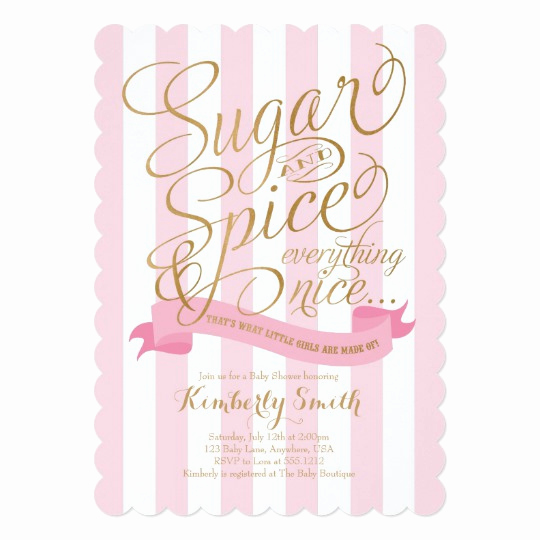 Girl Baby Shower Invitation Awesome Sugar and Spice Baby Girl Baby Shower Invitation