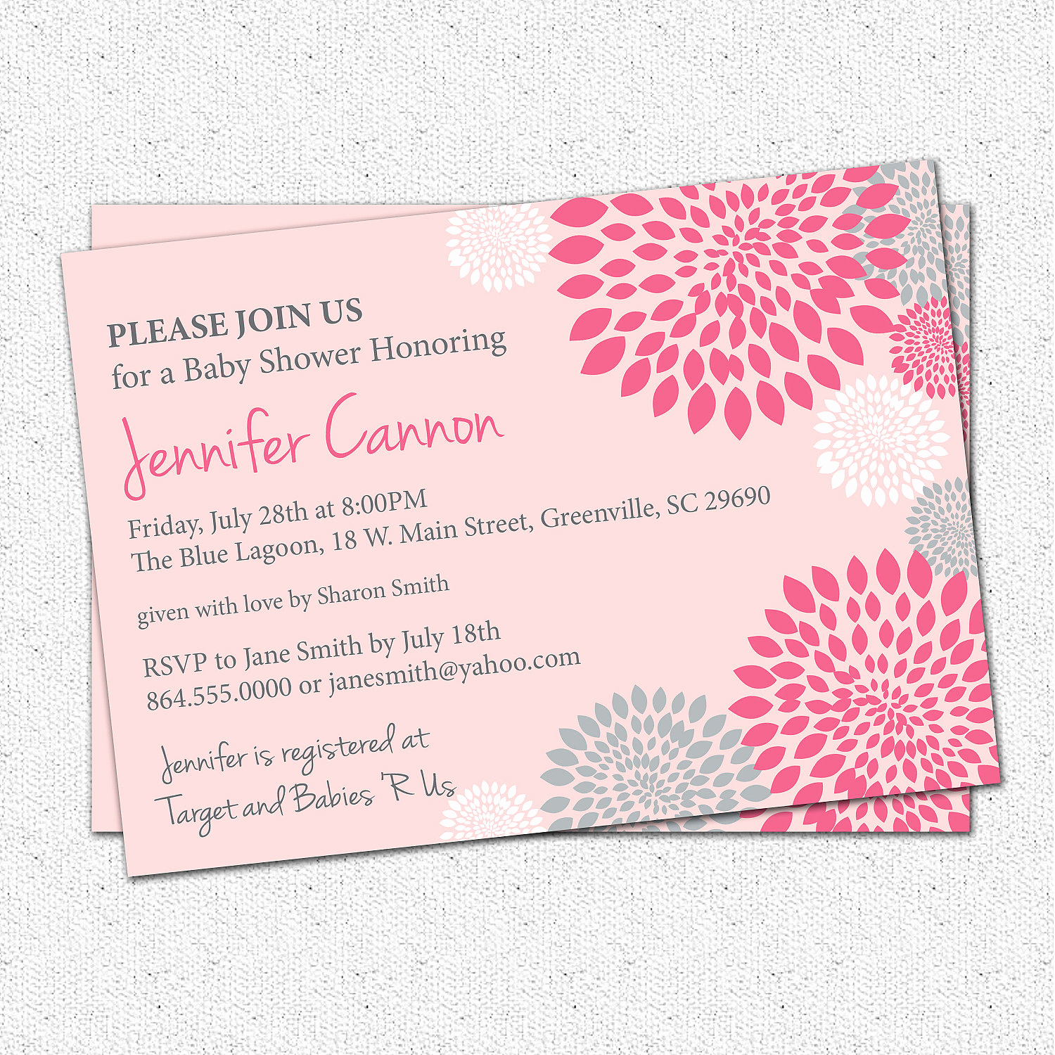 Girl Baby Shower Invitation Beautiful Baby Shower Invitations Girl White Hot and Pale Pink