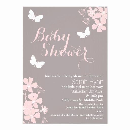 Girl Baby Shower Invitation Beautiful Floral butterflies Girls Baby Shower Invitation