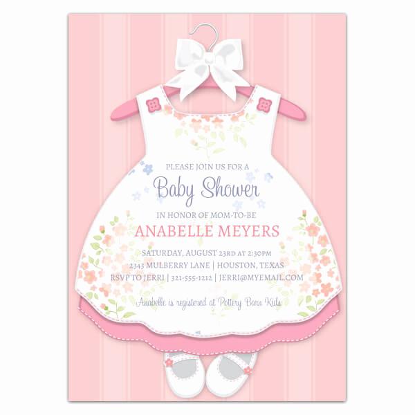 Girl Baby Shower Invitation Elegant Baby Girl Dress Invitations