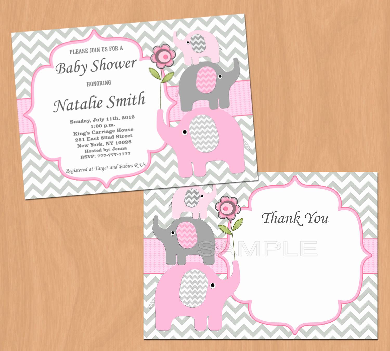 Girl Baby Shower Invitation Elegant Girl Baby Shower Invitation Elephant Baby Shower Invitation