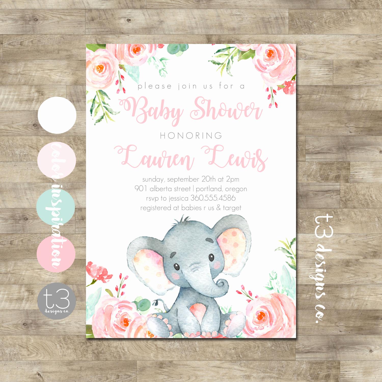 Girl Baby Shower Invitation Elegant Girl Elephant Baby Shower Invitation Safari Baby Shower