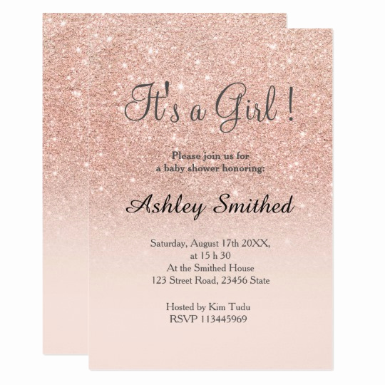 Girl Baby Shower Invitation Inspirational Rose Gold Faux Glitter Pink Ombre Girl Baby Shower