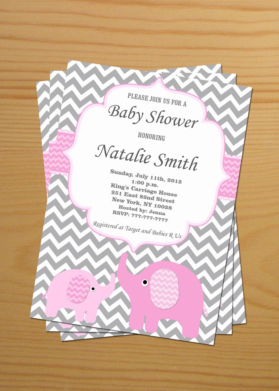 Girl Baby Shower Invitation New Baby Shower Invitation Elephant Baby Shower Invitation Girl