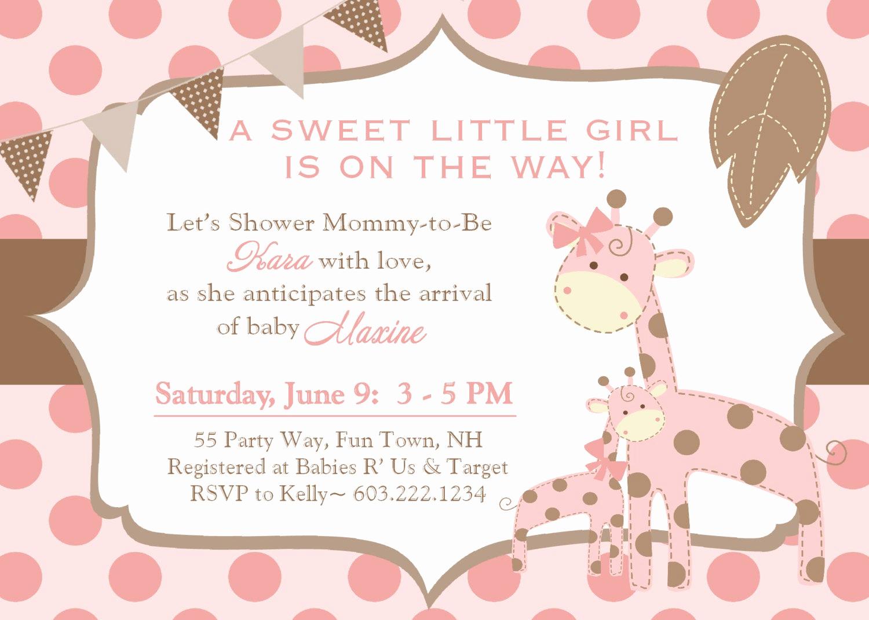 Girl Baby Shower Invitation New Giraffe Baby Shower Invitation Girl Invitation Giraffe Baby
