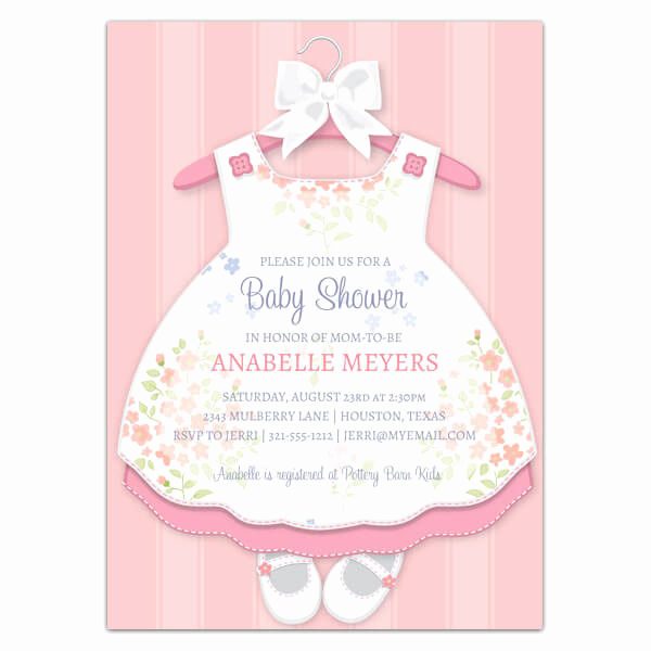 Girl Baby Shower Invitation Templates Awesome Baby Girl Dress Invitations