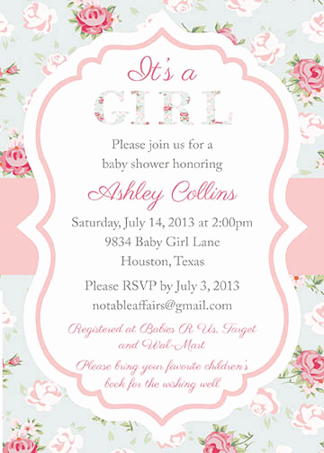 Girl Baby Shower Invitation Templates Awesome Baby Girl Shower Invitations Wording