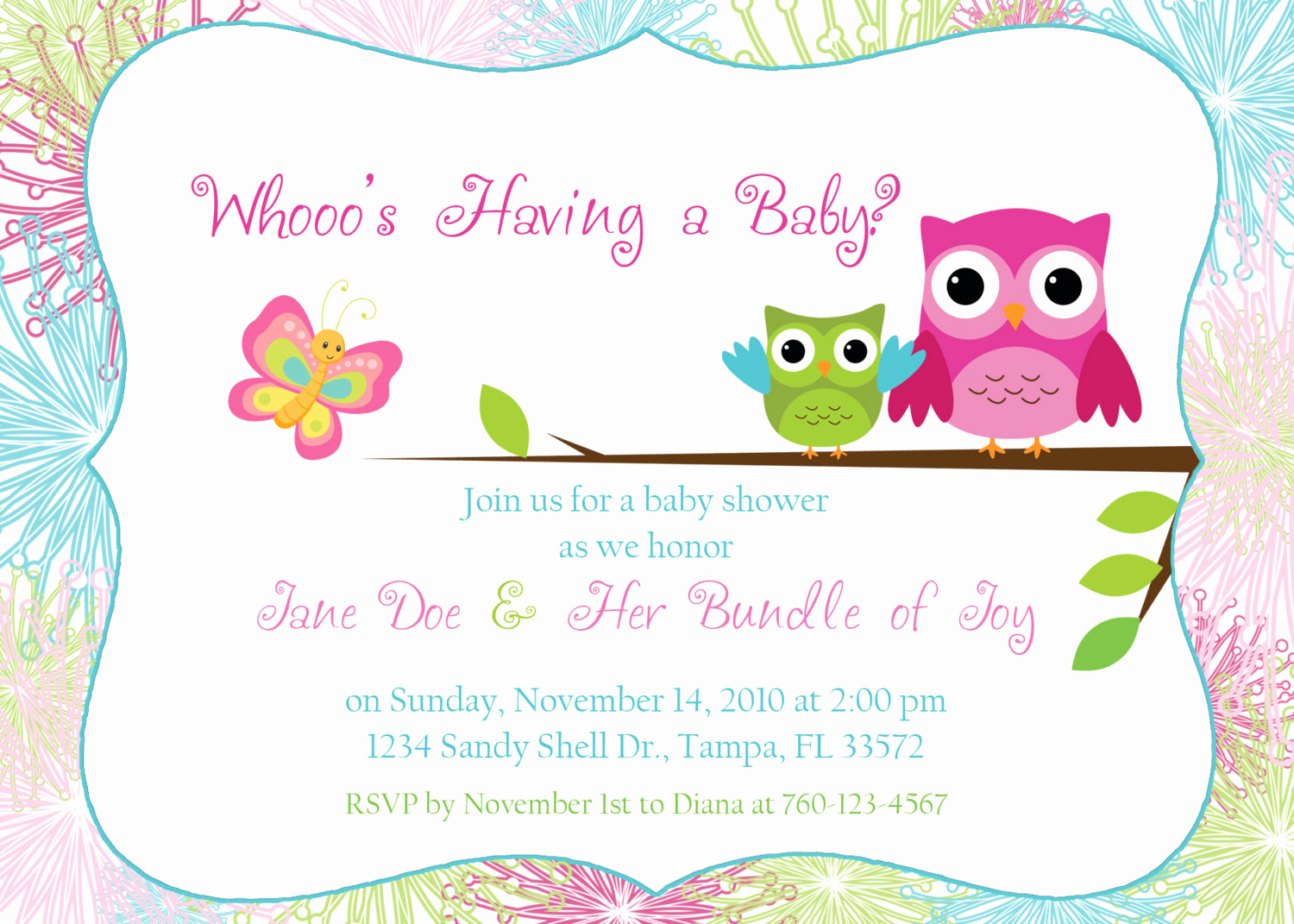 Girl Baby Shower Invitation Templates Awesome Owl Baby Shower Invitation Digital Image