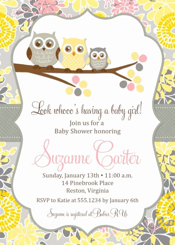 Girl Baby Shower Invitation Templates Beautiful Baby Shower Invitations Free Printable Owl theme Baby