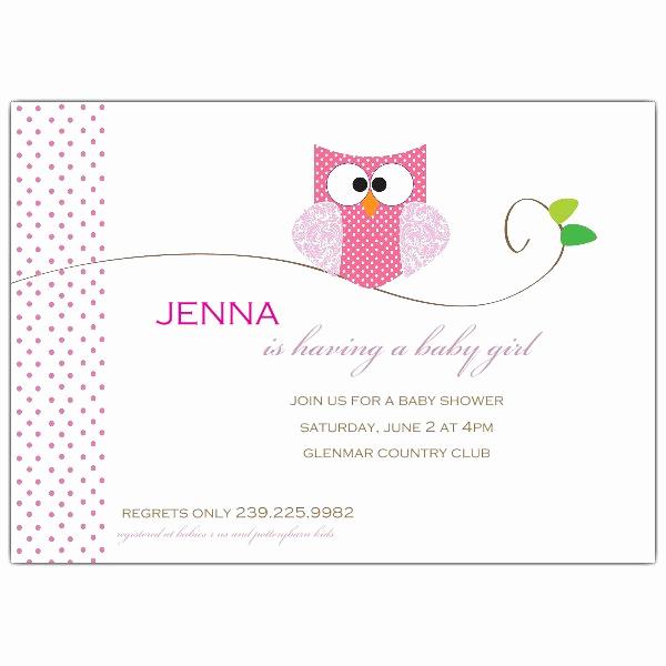 Girl Baby Shower Invitation Templates Beautiful Owl Girl Baby Shower Invitations