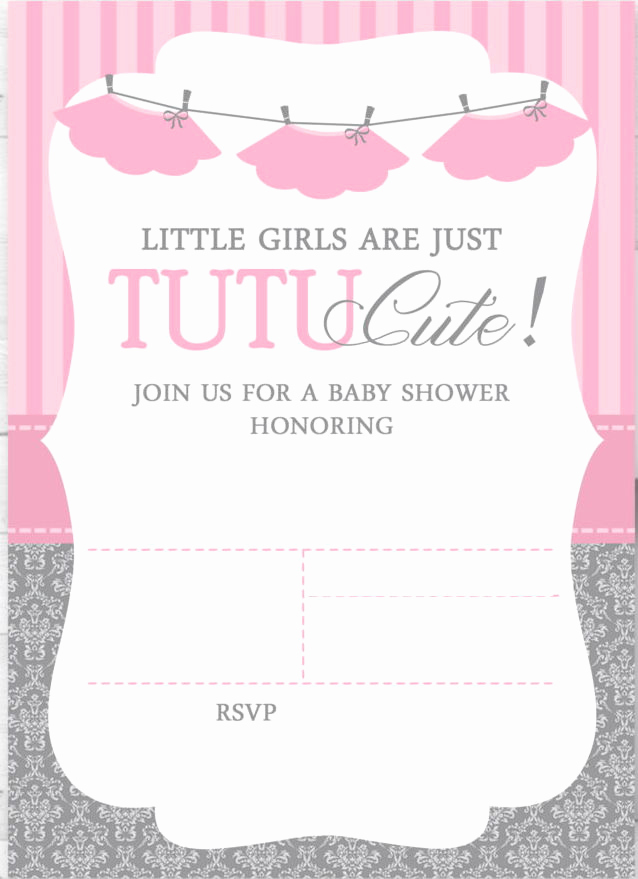 Girl Baby Shower Invitation Templates Best Of Cute Ballerina Baby Shower Invitations Free