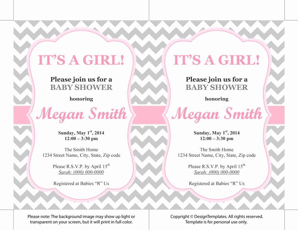 Girl Baby Shower Invitation Templates Unique Baby Shower Girl Invitations Templates
