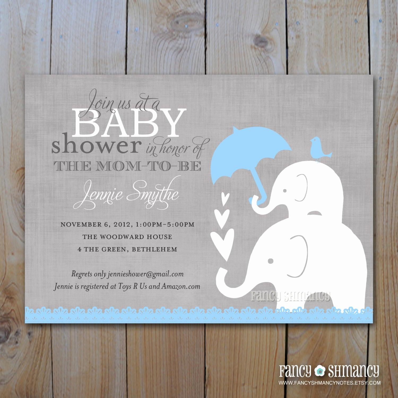 Girl Baby Shower Invitation Templates Unique Elephant Baby Shower Invitation Printable Baby Boy Shower