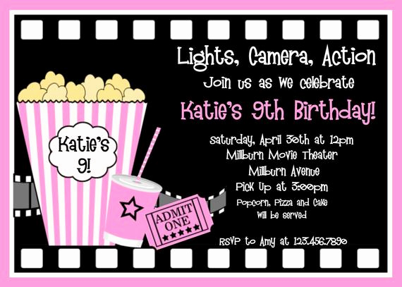 Girls Night Invitation Rhymes Awesome Movie Birthday Invitations Movie Night by thetrendybutterfly