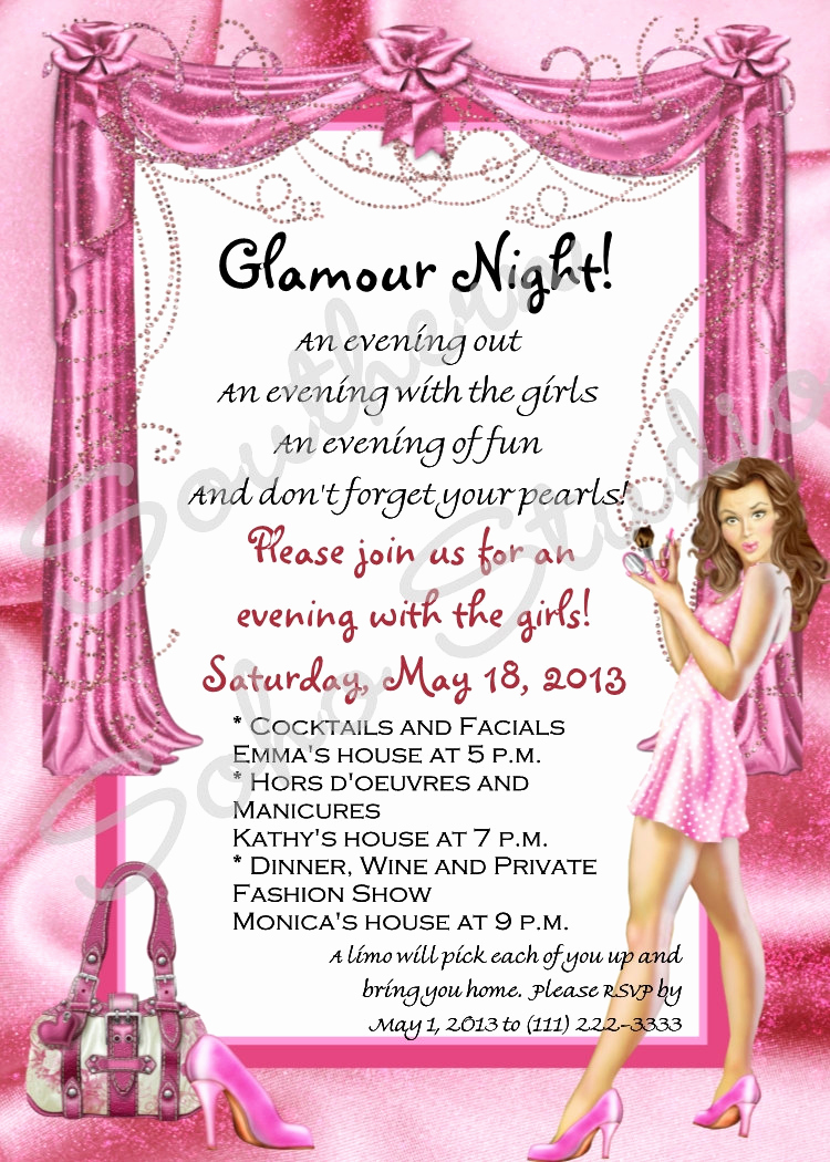Girls Night Invitation Rhymes Beautiful Glamour Girls Night Party Invitations Set Of 10