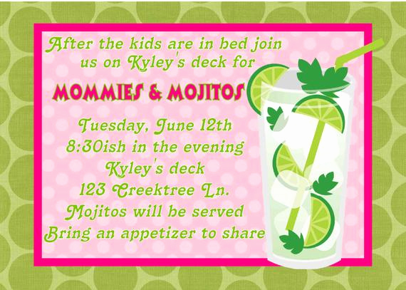 Girls Night Invitation Rhymes Elegant Items Similar to Digital Mommies & Mojitos Girls Night Out