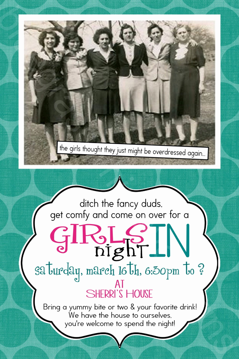 Girls Night Invitation Rhymes Lovely Girls Night In Out Retro Vintage Aqua 5x7 Printable
