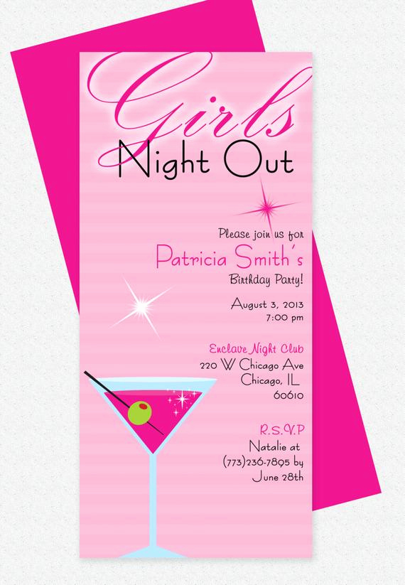 Girls Night Invitation Rhymes New Girls Night Out Invitation Design Editable Template