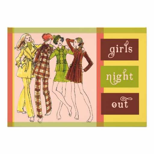 Girls Night Out Invitation Awesome Girls Night Out Vintage 70s 5x7 Paper Invitation Card