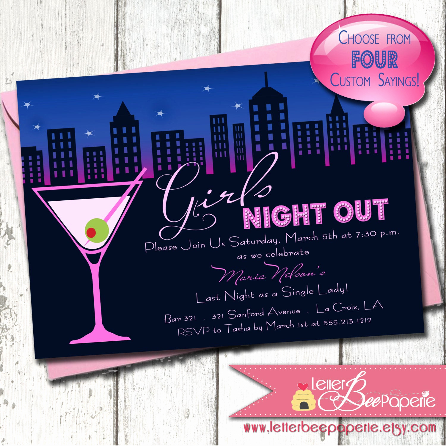 Girls Night Out Invitation Beautiful Bachelorette Party Invitation Girls Night Out La S Night