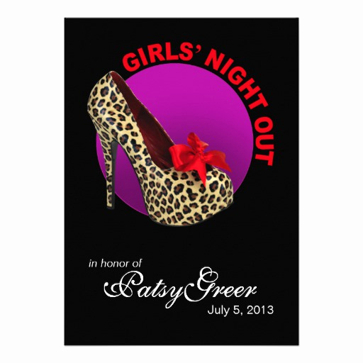 "Girls Night Out Invitation Inspirational Funky Leopard Stiletto Girls Night Out 5"" X 7"" Invitation"