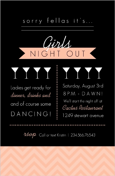 Girls Night Out Invitation Lovely Modern Black and Peach Girls Night Out Invitation