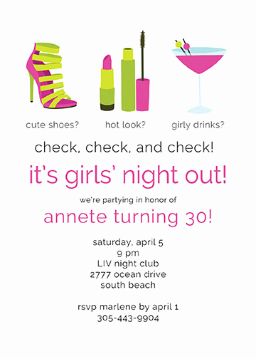 Girls Night Out Invitation New Girls Night Out Invitations
