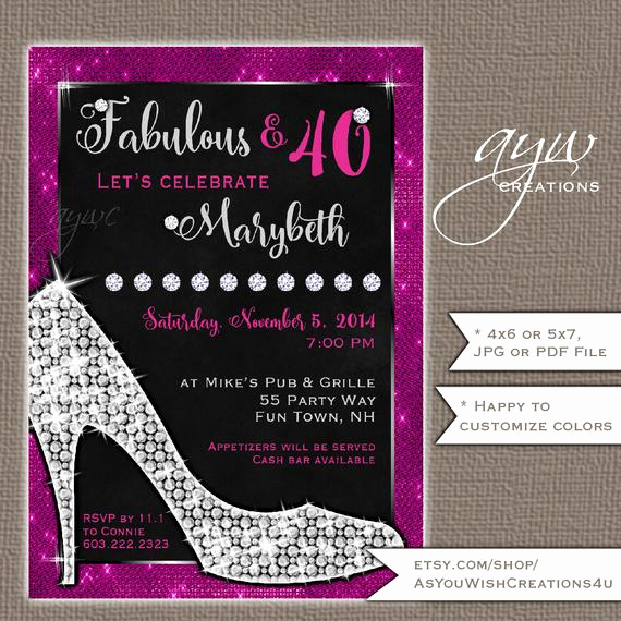 Glamorous Party Invitation Wow Beautiful 40th Birthday Party Invitations for Women High Heels