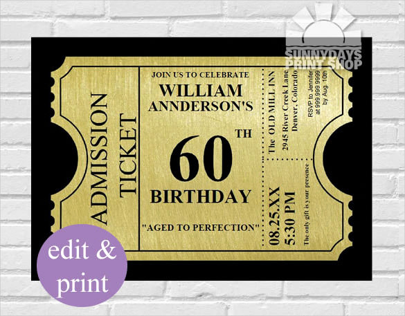 Glamorous Party Invitation Wow Beautiful Custom 60th Birthday Invitations