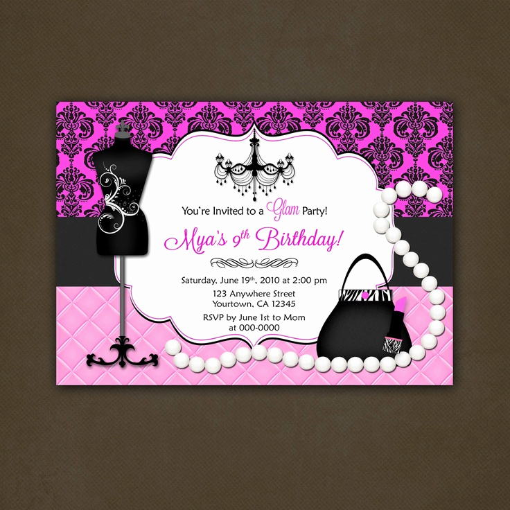 Glamorous Party Invitation Wow Luxury Glamour Fashionista Birthday Party Invitation Printable