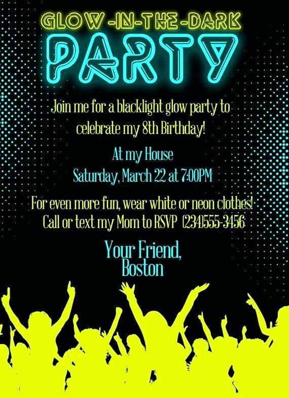 Glow Party Invitation Ideas Elegant Frais Invitation Fluo Party Ou Idees Carte D Invitation