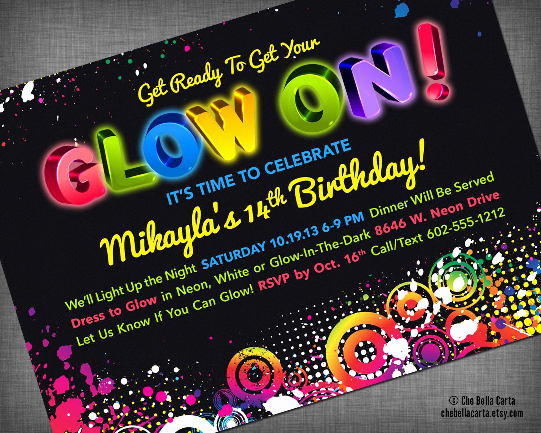Glow Party Invitation Ideas Inspirational Glow Neon Black Light Party Customized Printable Invitation