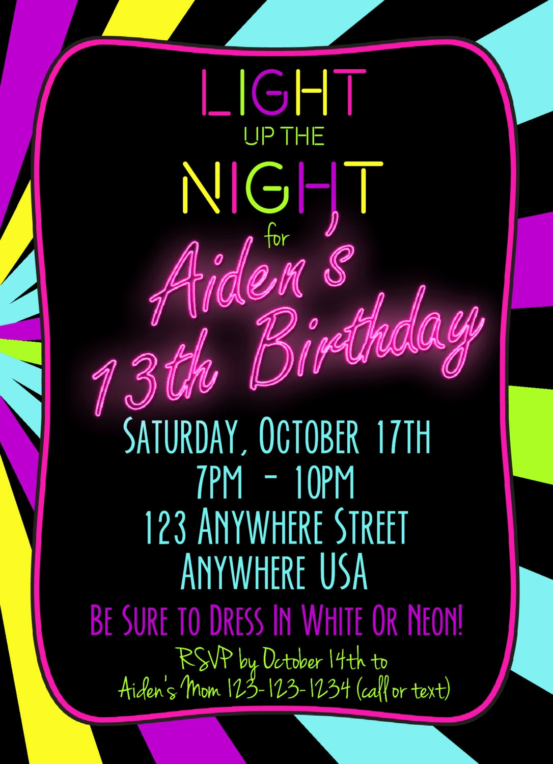 Glow Party Invitation Ideas Inspirational Neon 13th Birthday Invitation Glow Party Invitation Any