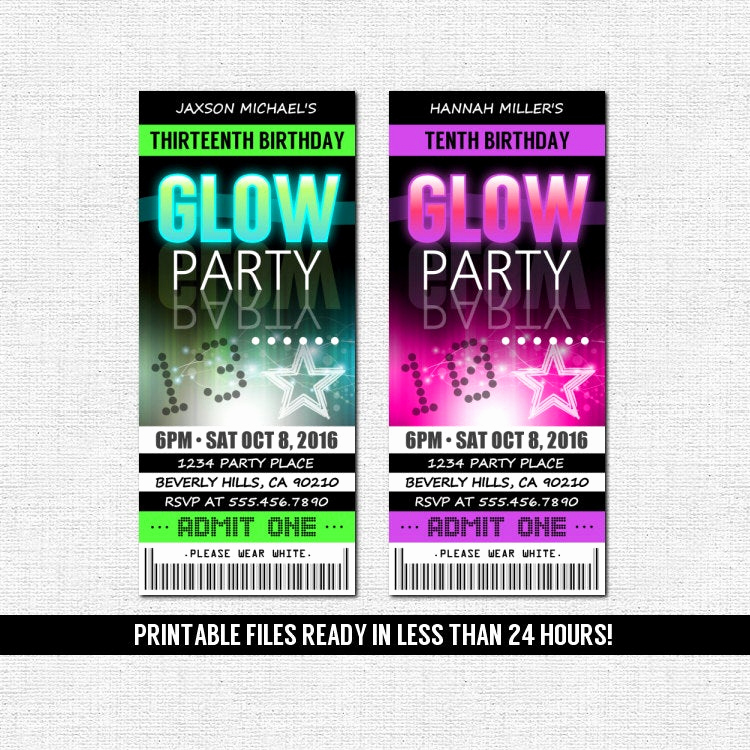glow party invitations ticket style neon