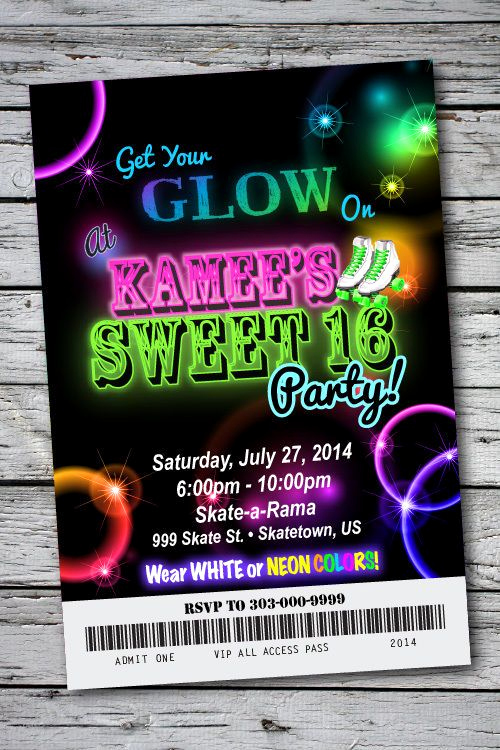 Glow Party Invitation Ideas Lovely Sweet 16 Glow In the Dark theme Neon Disco Birthday Party