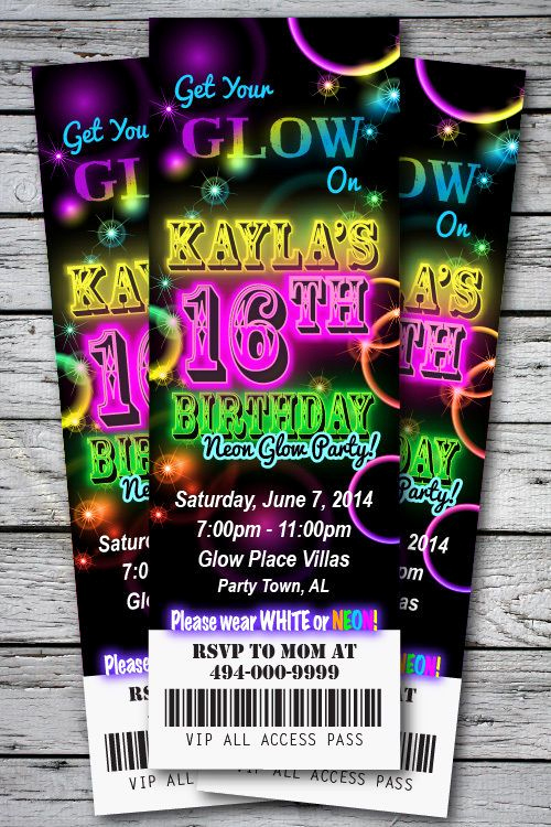 Glow Party Invitation Ideas Luxury 25 Best Ideas About Neon Party Invitations On Pinterest
