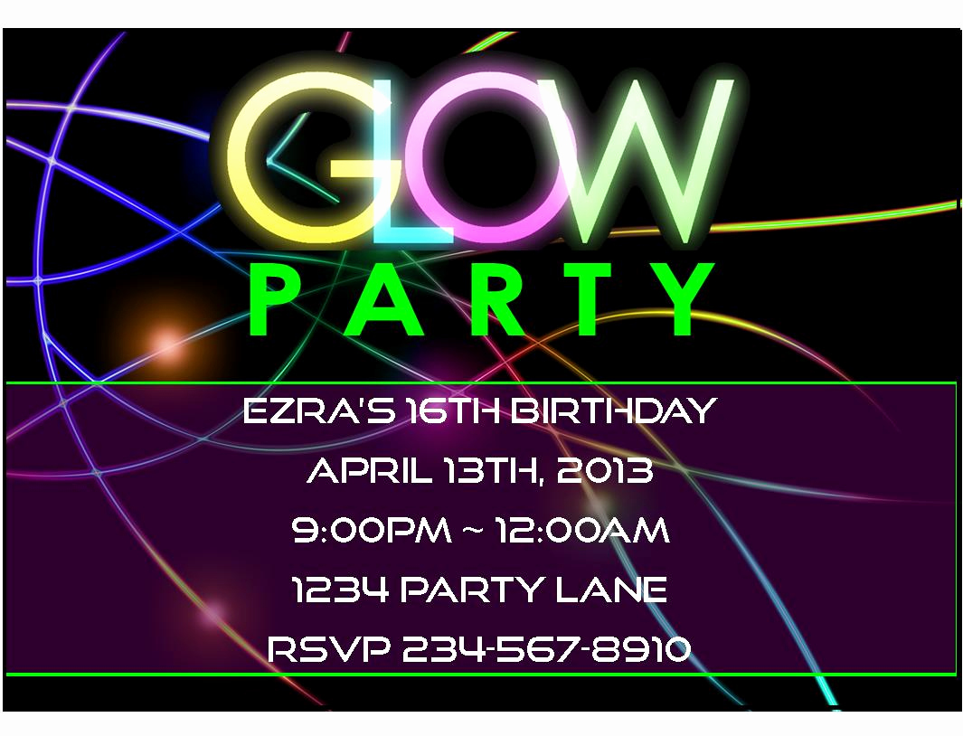 Glow Party Invitation Ideas Luxury Awesome Glow Party Ideas and Neon Party Games