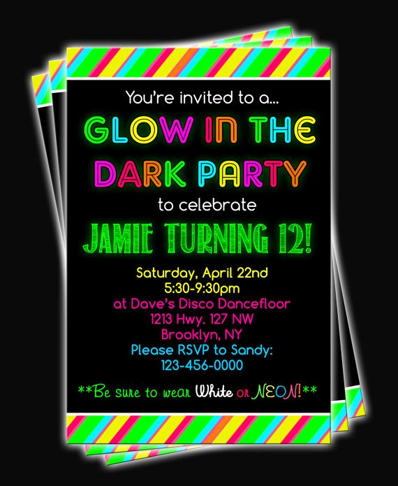 Glow Party Invitation Ideas New 40 Best Black Light Party Ideas Images On Pinterest