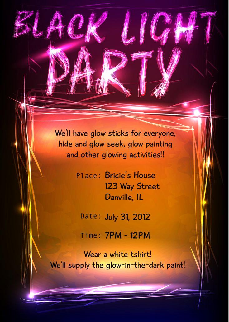 Glow Party Invitation Ideas New Black Light Party Invitation Joanna Hotalen