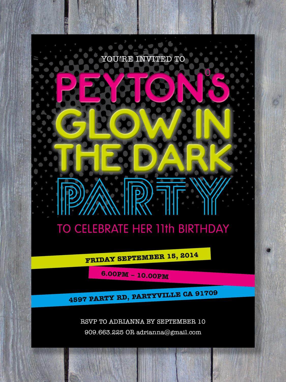 Glow Party Invitation Ideas New Glow In the Dark Party Invitation for Birthday Black Light