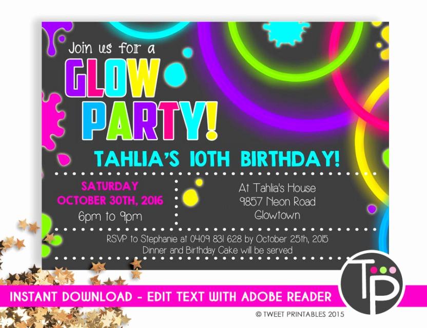 Glow Party Invitation Ideas New Glow Party Invitation Instant Glow Party Invitation