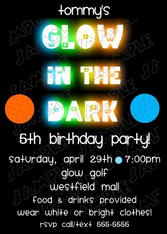 Glow Party Invitation Ideas Unique Glow In the Dark Miniature Golf Birthday Invitation Diy