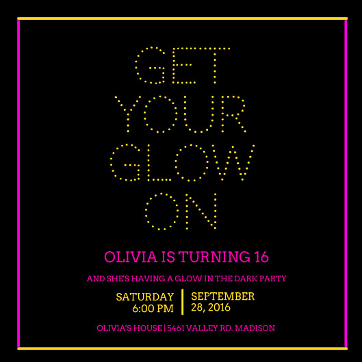 Glow Party Invitation Template Awesome Birthday Invitation Templates Canva