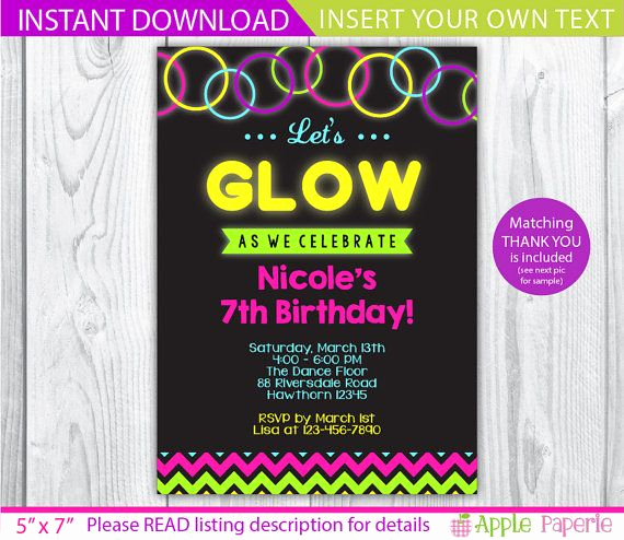Glow Party Invitation Template Awesome Glow Invitation Glow In the Dark Invitation Glow
