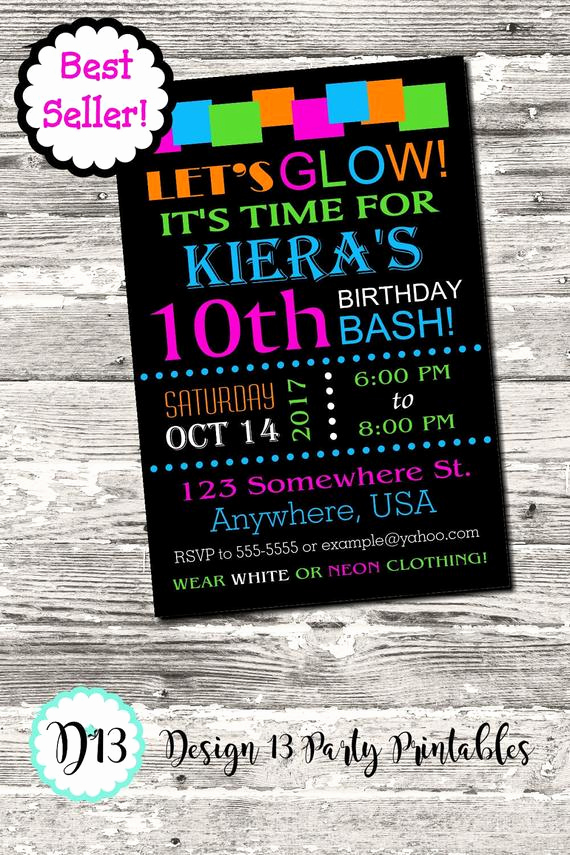 Glow Party Invitation Template Awesome Glow Neon Birthday Party Invitation with Free Thank You