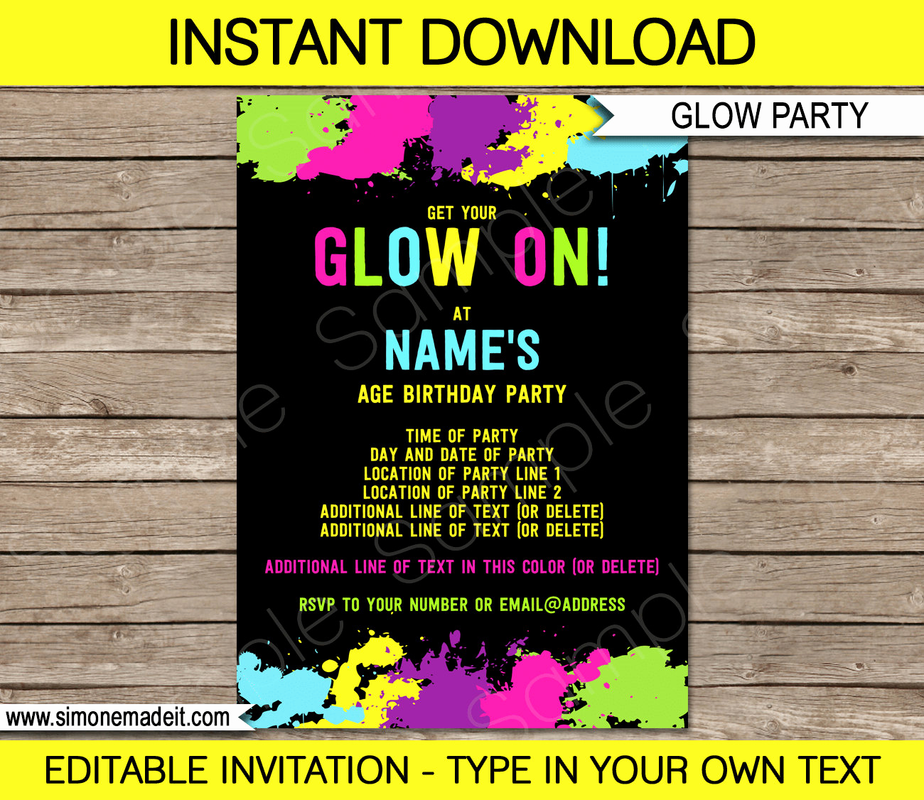 Glow Party Invitation Template Awesome Neon Glow Invitation Template Neon theme Birthday Party