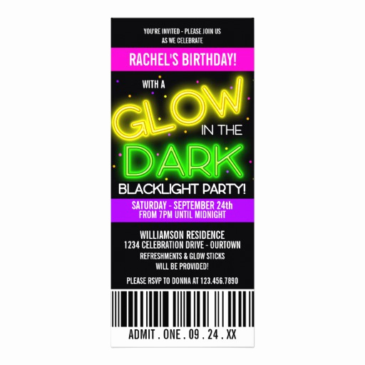 Glow Party Invitation Template Beautiful Personalized Glow In the Dark Invitations